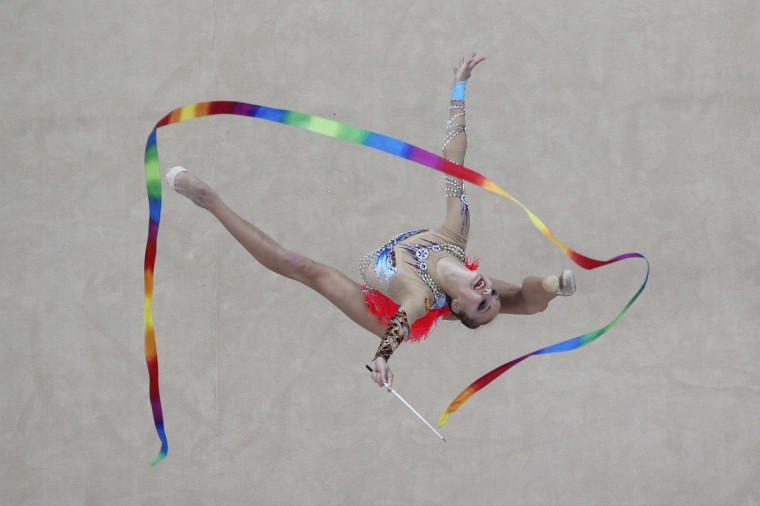 Russian's Irina Annenkova competes during the rhythmic gymnastics individual all-around final match at the 2014 Nanjing Youth Olympic Games in Nanjing, Jiangsu province. (Aly Song/Reuters)