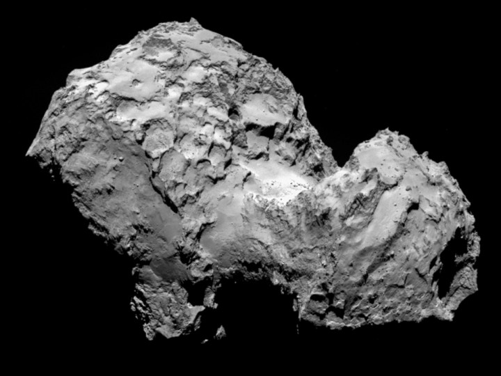 A handout photo of comet 67P/Churyumov-Gerasimenko by Rosetta's OSIRIS narrow-angle camera from a distance of 285 km (177 miles), made available by the European Space Agency (ESA) August 6, 2014. European spacecraft Rosetta became the first ever to rendezvous with the comet on Wednesday as part of a decade-long deep space mission that scientists hope will help unlock some of the secrets of the solar system. Rosetta, launched by the European Space Agency (ESA) in 2004, will accompany comet 67P/Churyumov-Gerasimenko on its trip around the sun and land a probe on it later this year in an unprecedented manoeuvre. The image resolution is 5.3 metres/pixel. (ESA/Reuters)